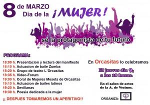 Cartel de los actos por el 8 de marzo de Orcasitas (Madrid)