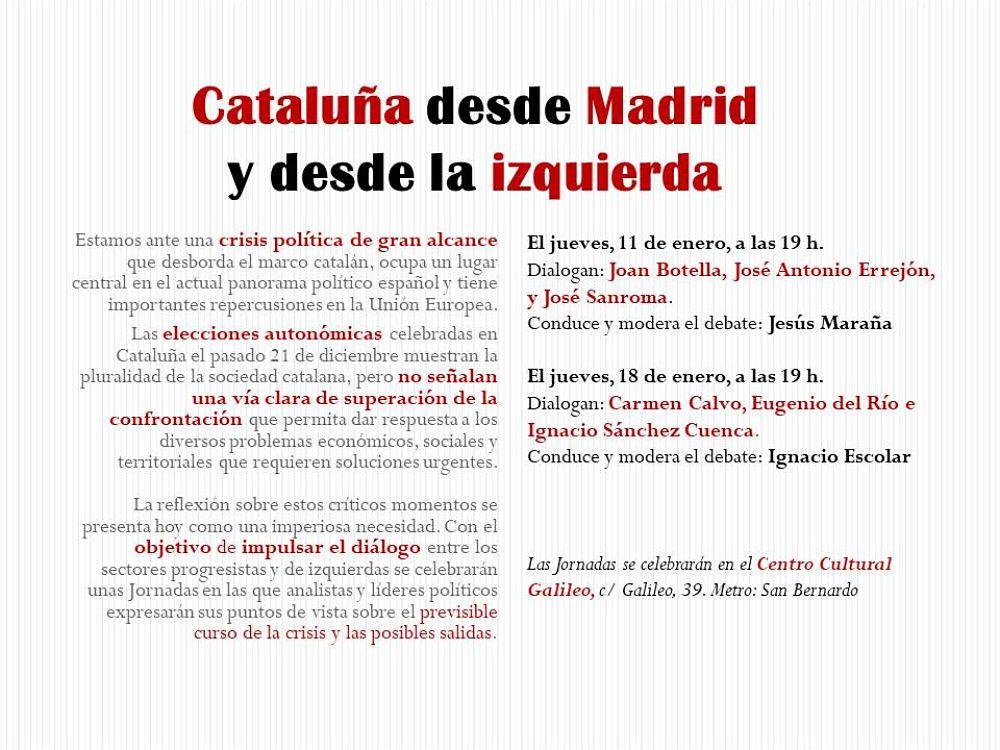Cataluña desde Madrid y desde la izquierda.