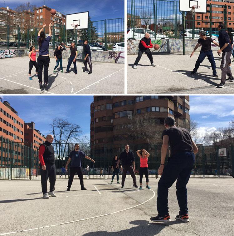 Parchanga de basket en las canchas municipales